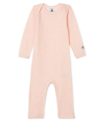 Babies' Long-Sleeved Bodysuit in Cotton/Wool Charme pink / Marshmallow Cn white
