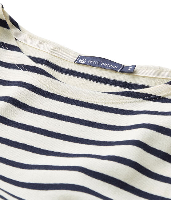 Women's sailor top in heavy jersey Coquille beige / Smoking blue