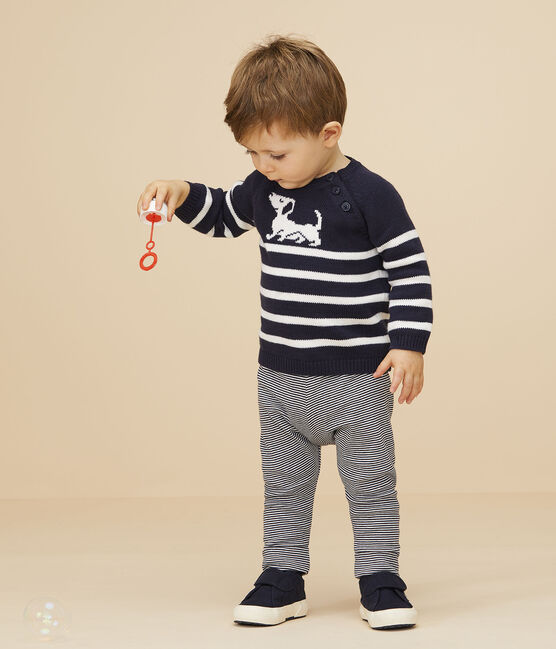Baby boy's stripy pullover with motif Smoking blue / Marshmallow white