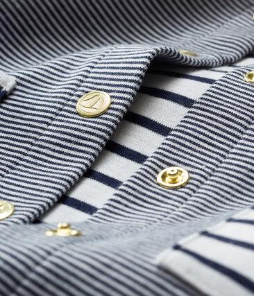 Baby Girls' Striped Knit Cardigan Smoking blue / Marshmallow white