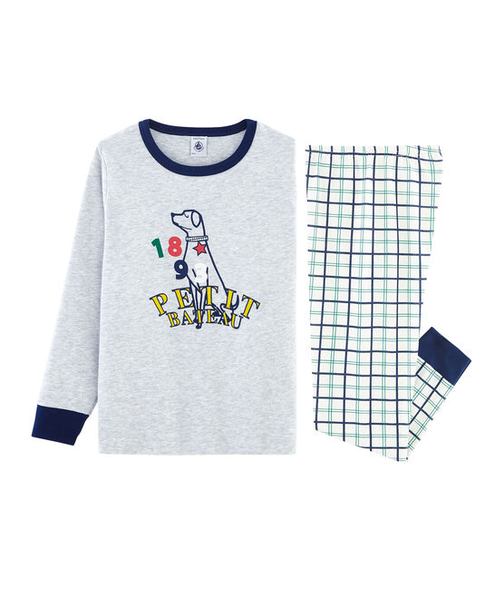 Boys' Tube Knit and Rib Knit Pyjamas Marshmallow white / Multico white