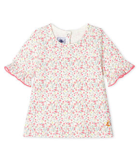 Baby Girls' Short-Sleeved Print Blouse Marshmallow white / Multico white