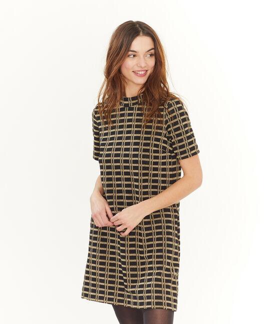 Women's Short-Sleeved Checked Dress . set