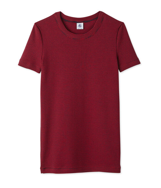 Women's milleraies striped tee. Smoking blue / Mars red