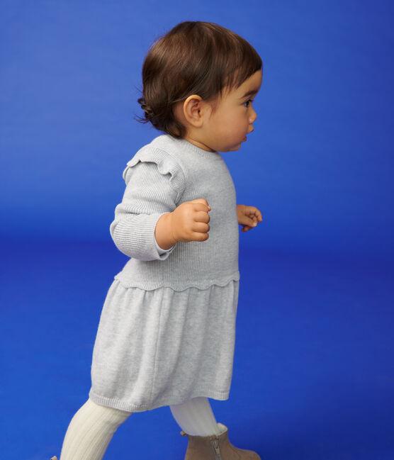 Baby girl's cotton and wool dress Beluga grey