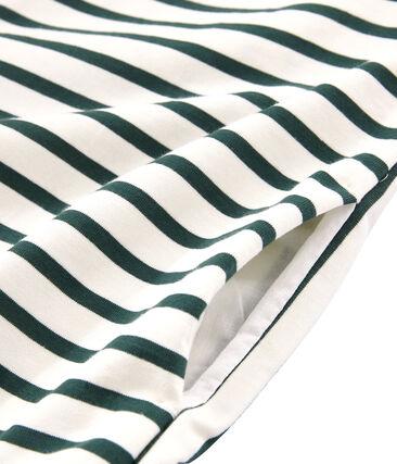 Women's Short-Sleeved Dress Coquille beige / Sousbois green