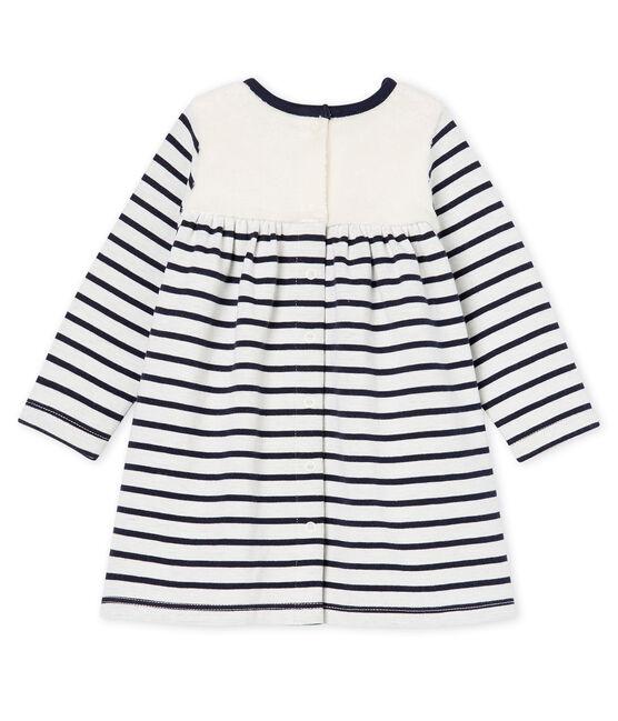 Baby Girls' Long-Sleeved Striped Dress Marshmallow white / Smoking Cn blue