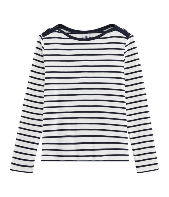 Women's Breton T-Shirt Marshmallow white / Smoking blue