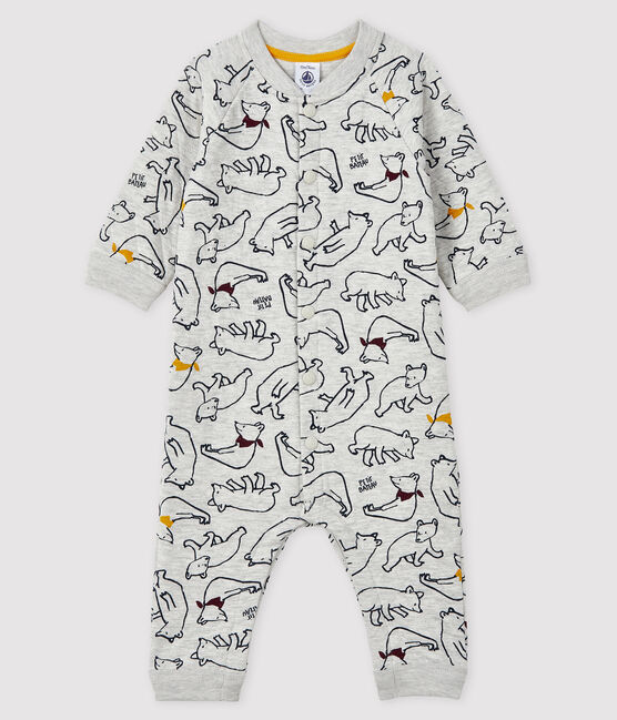 Baby boy's long playsuit Beluga grey / Multico white