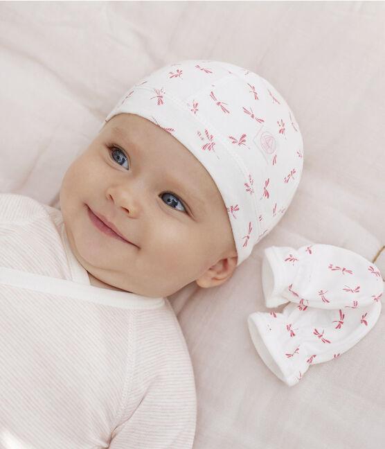 Newborn Babies' Bonnet and Mittens Set in Rib Knit . set