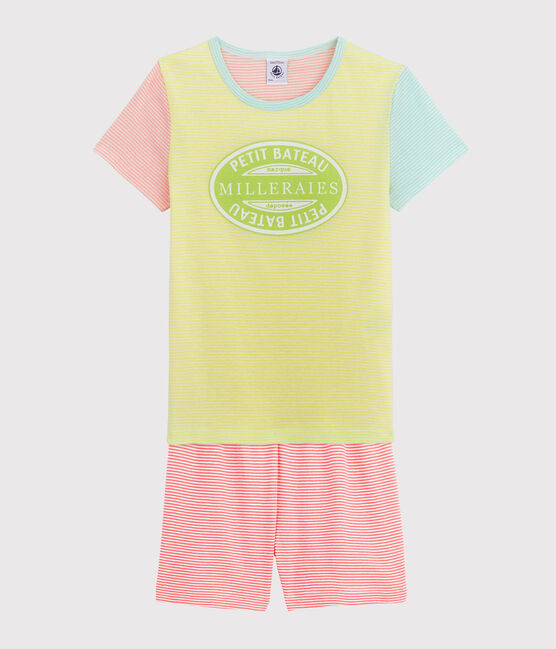 Girls' Ribbed Short Multicolour Striped Pyjamas Sunny yellow / Multico white