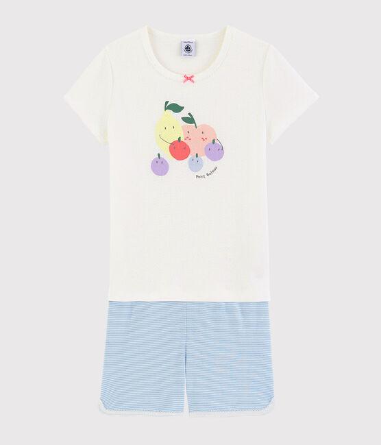 Girls' Summer Fruit Pattern Cotton Short Pyjamas Marshmallow white / Multico white
