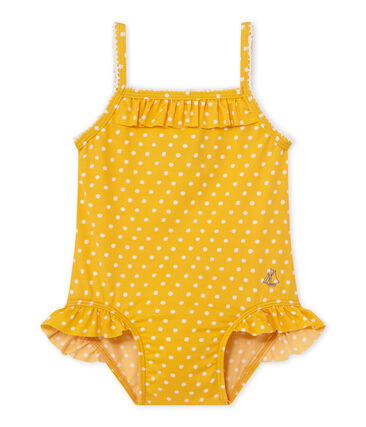 Baby girl's polka dot swimsuit Fusion orange / Marshmallow white