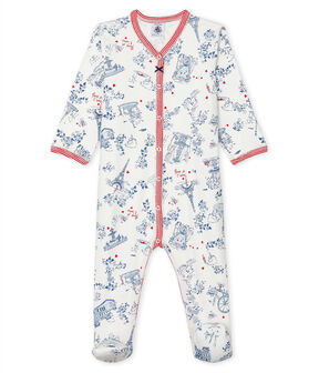 Babies' Ribbed Sleepsuit Marshmallow white / Multico white