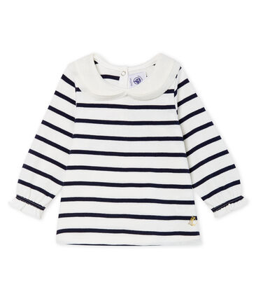 Baby Girls' Long-Sleeved Blouse with Sailor Stripes Marshmallow white / Smoking blue