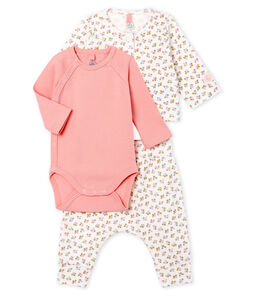 Baby Girls' Ribbed Clothing - 3-piece set Marshmallow white / Multico white