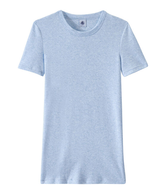 Women's T-shirt in heritage rib Cumulus Chine blue