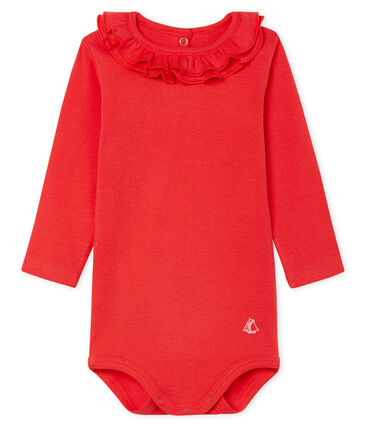 Long-sleeved bodysuit with ruff collar for baby girls