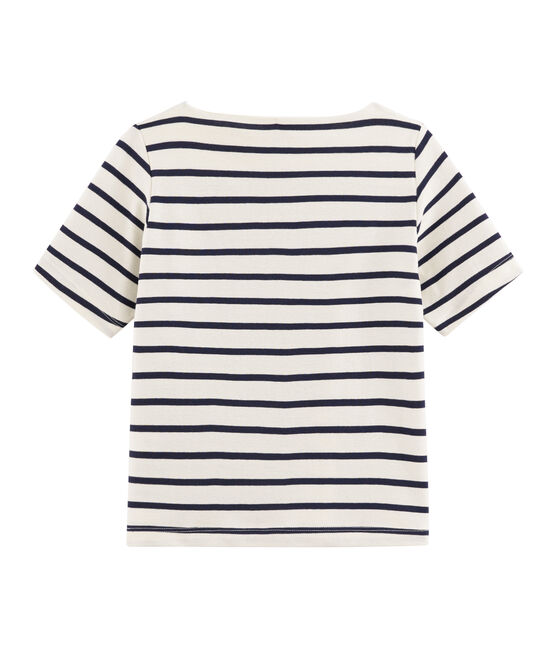 Girls' T-Shirt Coquille beige / Abysse blue