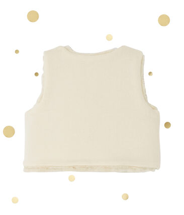 Baby girl's reversible sleeveless cardigan Coquille beige