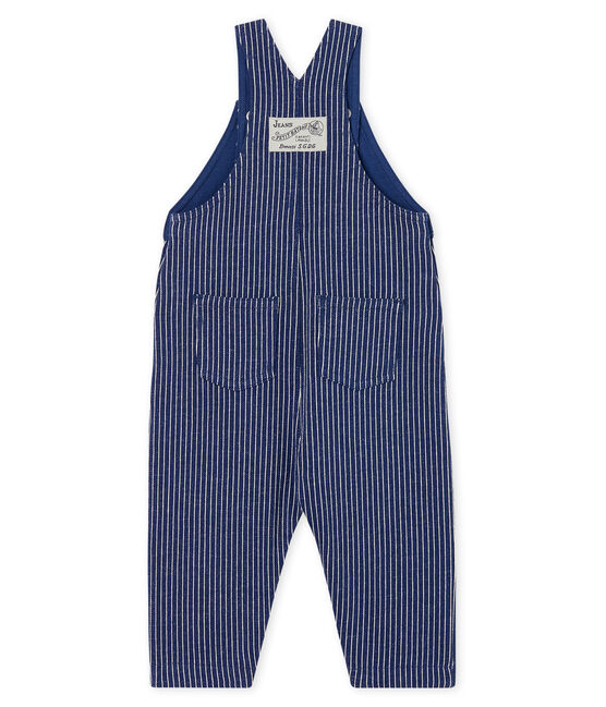 Baby Boys' Striped Knit Long Dungarees Smoking blue / Marshmallow white
