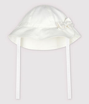 Baby Girls' Plain Twill Floppy Hat with Bow Marshmallow white