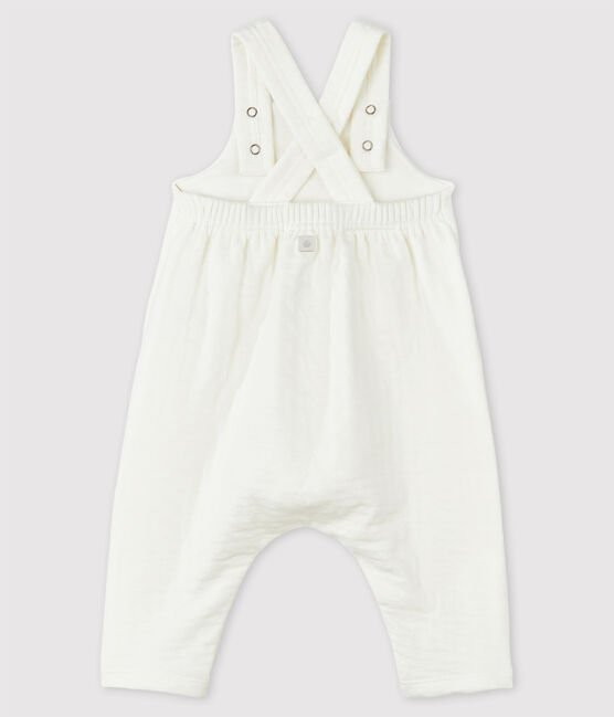 Babies' White Organic Cotton Tube Knit Dungarees Marshmallow white