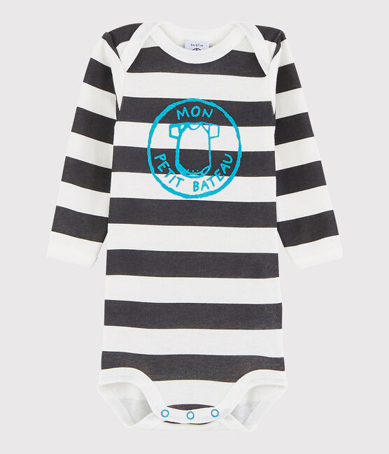 Baby Boys' Long-Sleeved Bodysuit Maki grey / Marshmallow white
