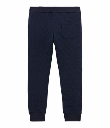 Boy's quilted double knit trousers Smoking blue