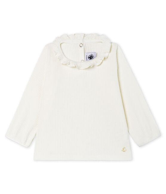 Baby Girls' Long-Sleeved Plain Blouse Marshmallow white