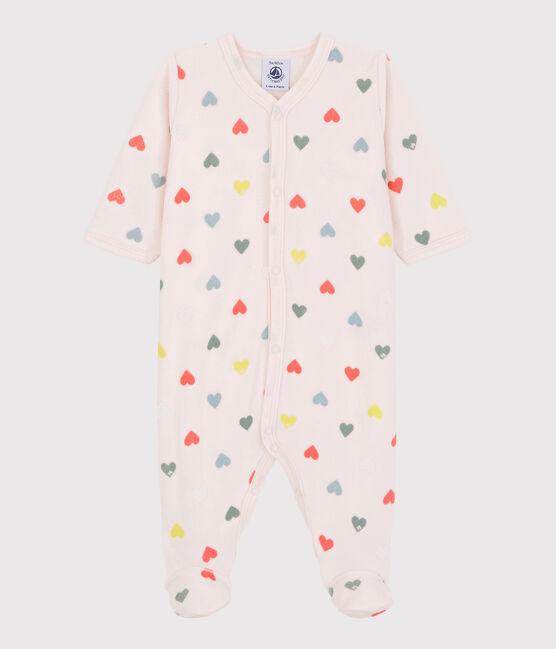 Baby Girls' Colourful Heart Pattern Velour Sleepsuit Fleur pink / Multico white