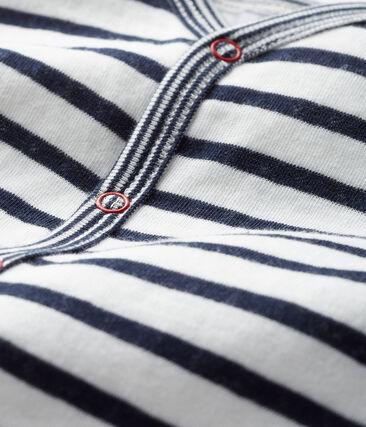 Baby Boys' Footless Tube Knit Sleepsuit Marshmallow white / Smoking blue