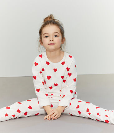 Girls-Boys' Fleece Pyjamas Marshmallow white / Terkuit red