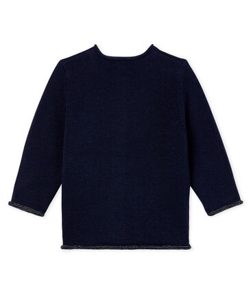 Baby Girls' Wool/Cotton Knit Basic Cardigan Smoking blue