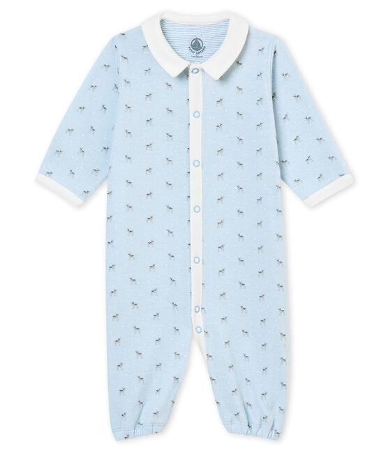 Baby boy's print tubic combi sleepsuit Fraicheur blue / Multico white
