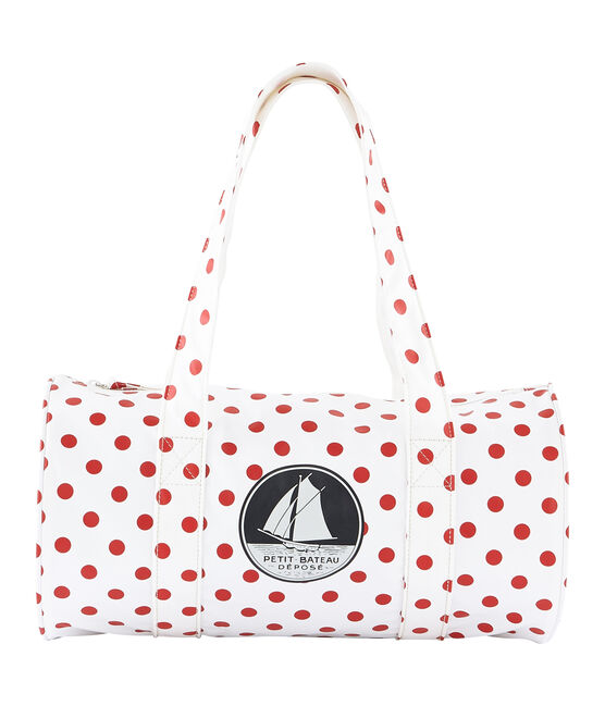 Little boy's duffle bag Marshmallow white / Rouge red