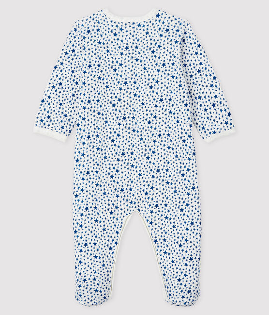 Babies' Blue Star Print Tube Knit Sleepsuit Marshmallow white / Multico white