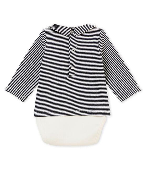 Baby boy's long sleeved tee-shirtbodysuit Smoking blue / Marshmallow white