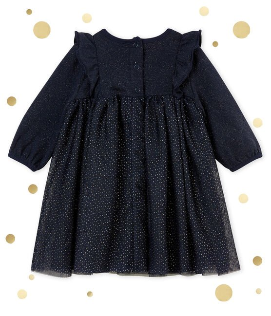 Baby girl's sparkly dress Smoking blue / Dore yellow