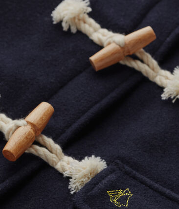 Girl's duffel coat in wool broadcloth Smoking blue
