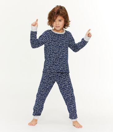 Boys' Fleece Pyjamas Major blue / Marshmallow white
