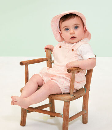 Wide-brimmed seersucker hat for baby girls Marshmallow white / Rosako pink