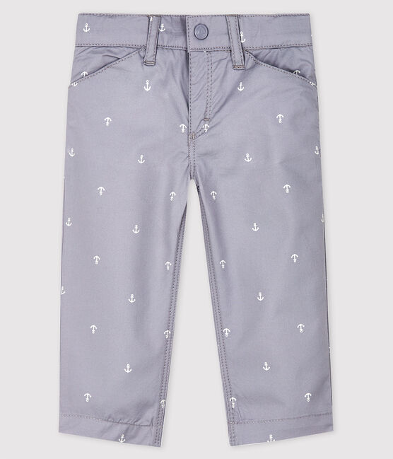 Baby Boys' Embroidered Twill Trousers Concrete grey