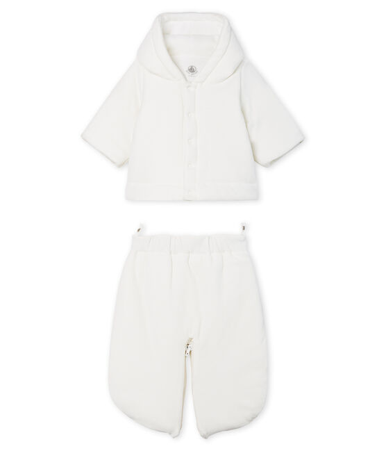 3-in-1 Babies' Velour Snowsuit Marshmallow white