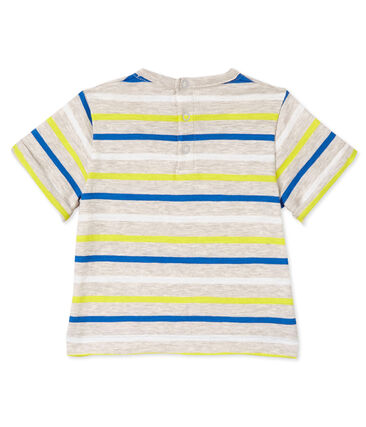 Baby boys' striped T-shirt Creamy beige / Multico white