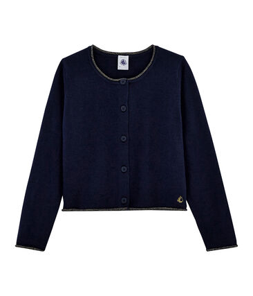 Girls' Knit Cardigan Smoking blue