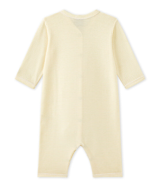 Baby girl's footless sleepsuit in milleraies stripes Pamplemousse yellow / Ecume white