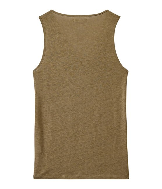 Women's iridescent linen top Shitake brown / Or yellow