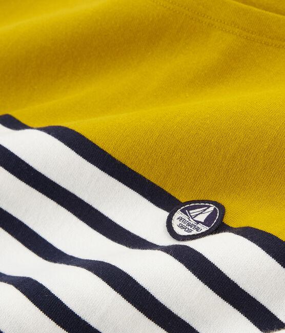 Women's short-sleeved stripy breton top Bamboo yellow / Marshmallow white