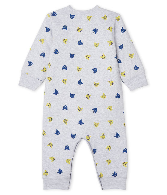 Baby Boys' Footless Sleepsuit in Padded Rib Knit Poussiere grey / Multico white
